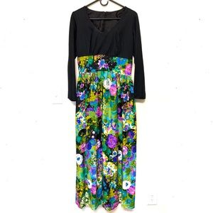 Vintage 60s 70s Long Sleeve Floral Maxi Dress 8 10